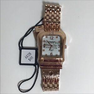 Akribos XXIV Buckle Quartz Rose Gold Watch NWT